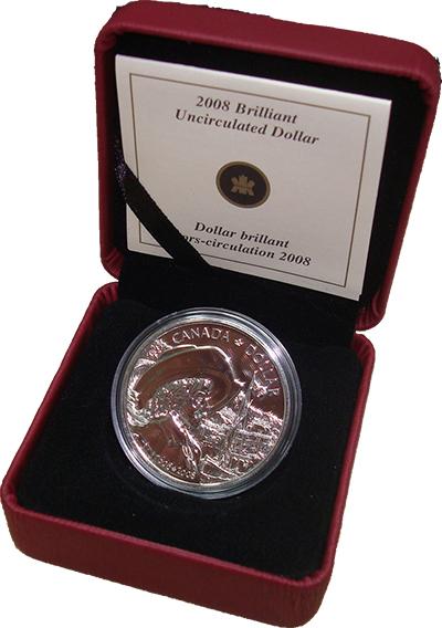 Изображение Подарочные монеты Канада 400 лет основания Квебека 2008 Серебро BUNC Монета номиналом 1 д