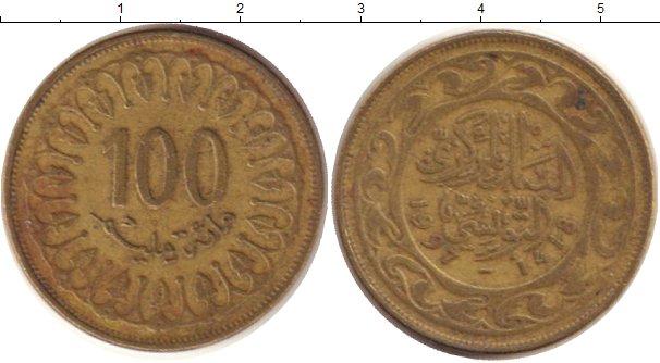 Картинка Дешевые монеты Тунис 100 миллим Латунь 1997