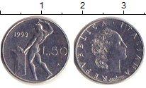 Изображение Барахолка Италия 50 лир 1999 Медно-никель XF