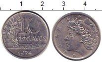 Изображение Барахолка Бразилия 10 сентаво 1974 Медно-никель XF