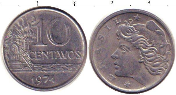 Картинка Дешевые монеты Бразилия 10 сентаво Медно-никель 1974