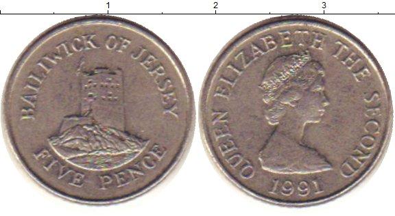 Картинка Барахолка Остров Джерси 5 пенсов Медно-никель 1991