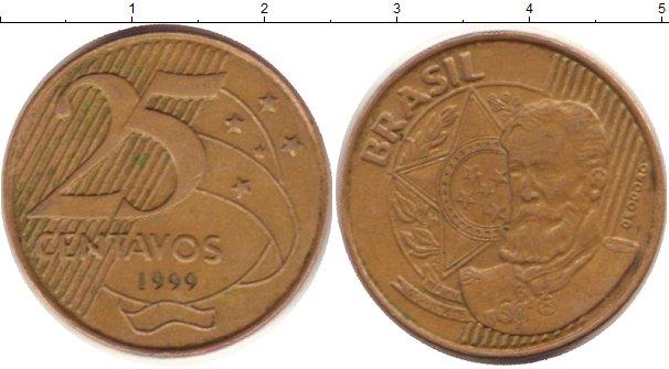 Картинка Дешевые монеты Бразилия 25 сентаво Латунь 1999