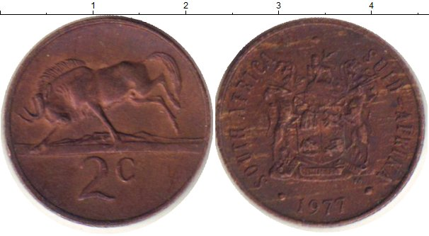 Картинка Дешевые монеты ЮАР 2 цента Медь 1977