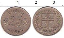 Изображение Дешевые монеты Исландия 25 аурар 1957 Медно-никель XF