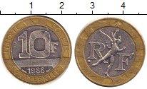 Изображение Барахолка Франция 10 франков 1988 Биметалл XF
