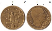 Изображение Монеты Италия 5 сентесим 1941 Латунь VF