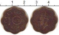Изображение Монеты Цейлон 10 центов 1951 Латунь VF