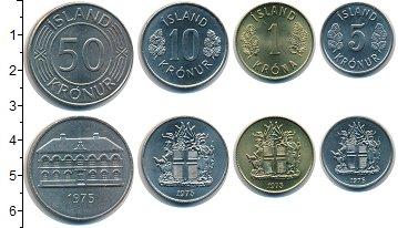 Изображение Наборы монет Исландия Исландия 1975 1975  UNC- В наборе 4 монеты но