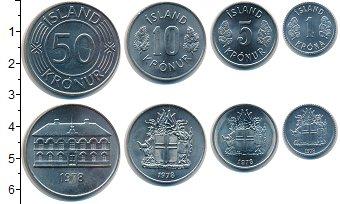 Изображение Наборы монет Исландия Исландия 1978 1978  UNC- В наборе 4 монеты но