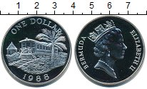 Изображение Монеты Бермудские острова 1 доллар 1988 Серебро UNC Елизавета II. Вагон