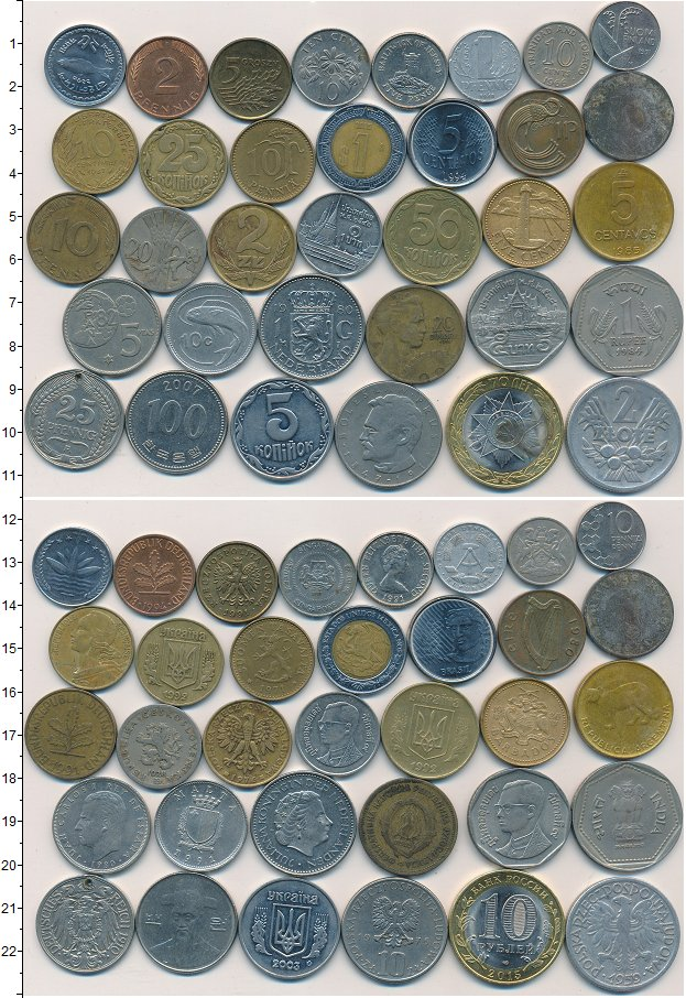 Изображение Лоты монет для начинающих нумизматов Монеты стран мира Лот №01265 0