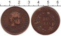 Изображение Монеты Португалия 20 рейс 1891 Бронза XF