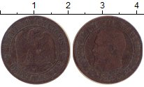 Изображение Монеты Франция 2 сантима 1854 Медь VF