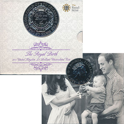 Изображение Подарочные монеты Великобритания Рождение принцессы Шарлотты 2015 Медно-никель BUNC