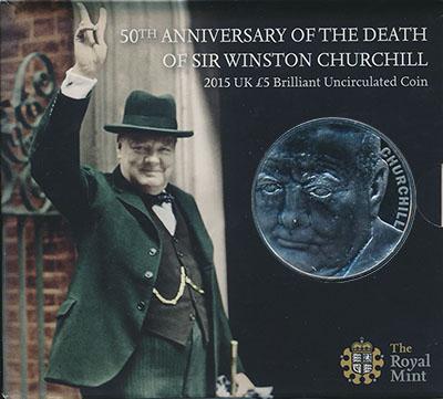 Изображение Подарочные монеты Великобритания Сэр Уинстон Черчилль 2015 Медно-никель BUNC 5-фунтовая монета по