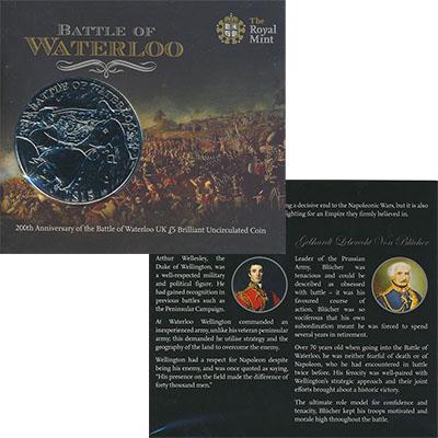 Изображение Подарочные монеты Великобритания Битва при Ватерлоо 2015 Медно-никель BUNC 5-фунтовая монета по