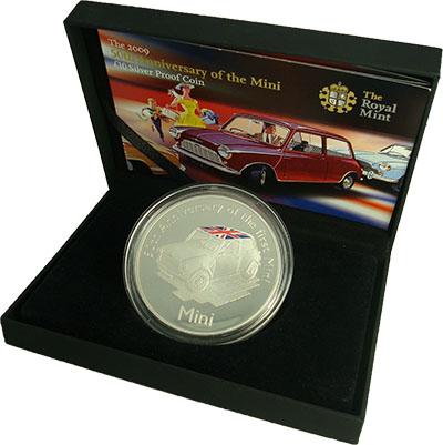 Изображение Подарочные монеты Олдерни Мини Купер 2009 Серебро Proof `Монета номиналом 10