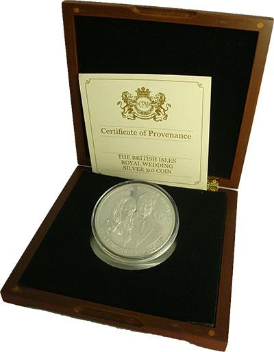Изображение Подарочные монеты Остров Джерси Свадьба принца Уильяма 2011 Серебро Proof Монета номиналом 10