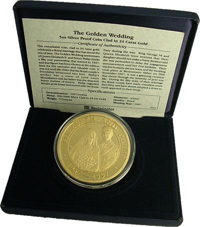 Изображение Подарочные монеты Теркc и Кайкос 50 лет свадьбы Елизаветы II 1997 Серебро Proof Монета номиналом 100