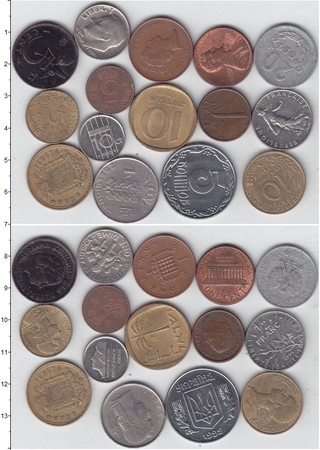 Изображение Лоты монет для начинающих нумизматов Монеты стран мира Лот №01275 0