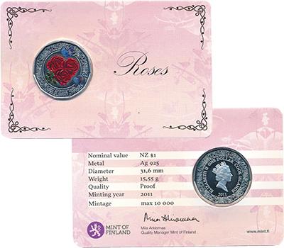 Изображение Подарочные монеты Острова Кука Роза 2011 Серебро Proof Монета номиналом 1 д