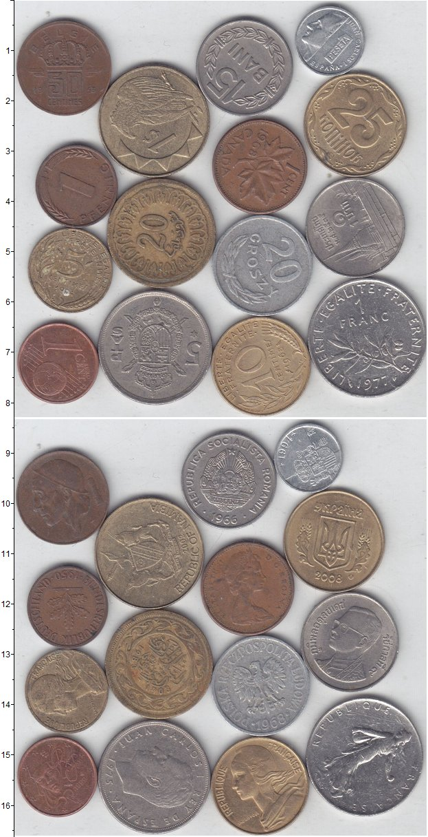 Изображение Лоты монет для начинающих нумизматов Монеты стран мира Лот №01321 0