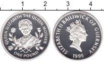 Изображение Мелочь Гернси 1 фунт 1995 Серебро Proof- Елизавета II
