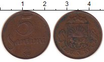 Изображение Монеты Латвия 5 сантим 1922 Бронза XF-