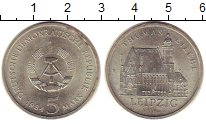 Изображение Монеты ГДР 5 марок 1984 Медно-никель UNC- Кирха  Томаса  в  Ле
