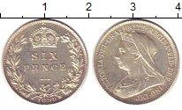 Изображение Монеты Великобритания 6 пенсов 1899 Серебро UNC-