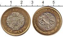 Изображение Монеты Мексика 10 песо 2008 Биметалл UNC- ацтекский рельеф - г