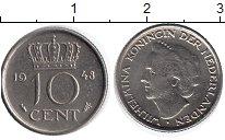 Изображение Монеты Нидерланды 10 центов 1948 Медно-никель XF Королева  Вильгельми