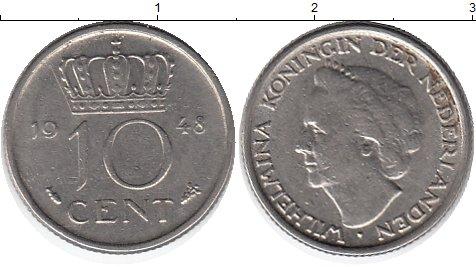 Картинка Монеты Нидерланды 10 центов Медно-никель 1948