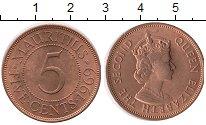 Изображение Монеты Маврикий 5 центов 1969 Бронза UNC-