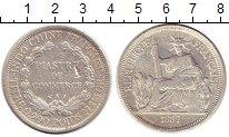 Изображение Монеты Индокитай 1 пиастр 1887 Серебро VF Протекторат  Франции