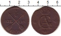 Изображение Монеты Швеция 1/2 скиллинга 1809 Медь VF