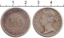Изображение Монеты Стрейтс-Сеттльмент 20 центов 1891 Серебро VF Королева  Виктория.