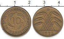 Изображение Монеты Веймарская республика 10 пфеннигов 1925 Латунь XF D
