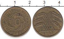 Изображение Монеты Веймарская республика 10 пфеннигов 1929 Латунь XF