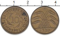 Изображение Монеты Веймарская республика 10 рентенпфеннигов 1929 Латунь XF