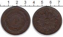 Изображение Монеты Уругвай 4 сентима 1869 Бронза XF-