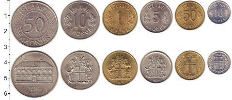 Изображение Наборы монет Исландия Исландия 1974 1974 Медно-никель XF В наборе 6 монет ном