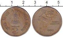 Изображение Дешевые монеты Индия 2 рупии 1999 Медно-никель XF
