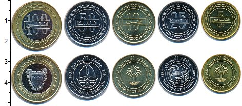 Изображение Наборы монет Бахрейн Бахрейн 2010-2012 0  UNC- В наборе 5 монет ном