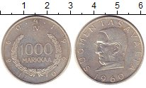 Изображение Монеты Финляндия 1000 марок 1960 Серебро XF 100 - летие  денежно