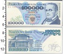 Изображение Банкноты Польша 100.000 злотых 1990  UNC Станислав Монтушко