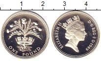 Изображение Монеты Великобритания 1 фунт 1989 Серебро Proof- Елизавета II