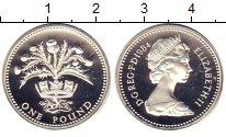 Изображение Монеты Великобритания 1 фунт 1984 Серебро Proof- Елизавета II