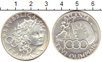 Изображение Монеты Италия 1000 лир 1996 Серебро UNC Олимпиада 96. Атлант